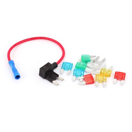 Car Vehicle Blade Fuse Circuit Adapter Holder Safety Tap DIY APM w 10xFuses