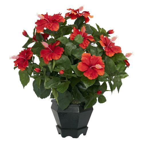 New Hibiscus w/Black Hexagon Vase Silk Plant