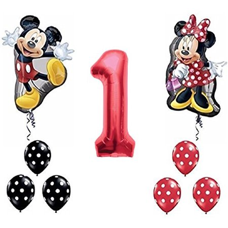 Red Number 1 Mickey and Minnie Mouse Full Body Birthday Supershape Balloon Set (Minnie And Mickey Birthday Decorations)