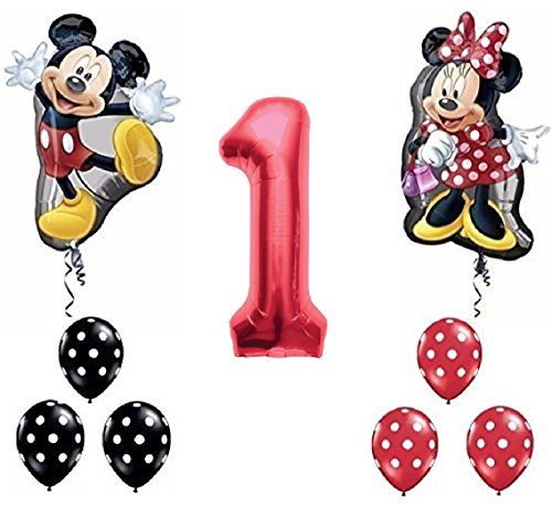 Red Number 1 Mickey and Minnie Mouse Full Body Birthday Supershape Balloon Set