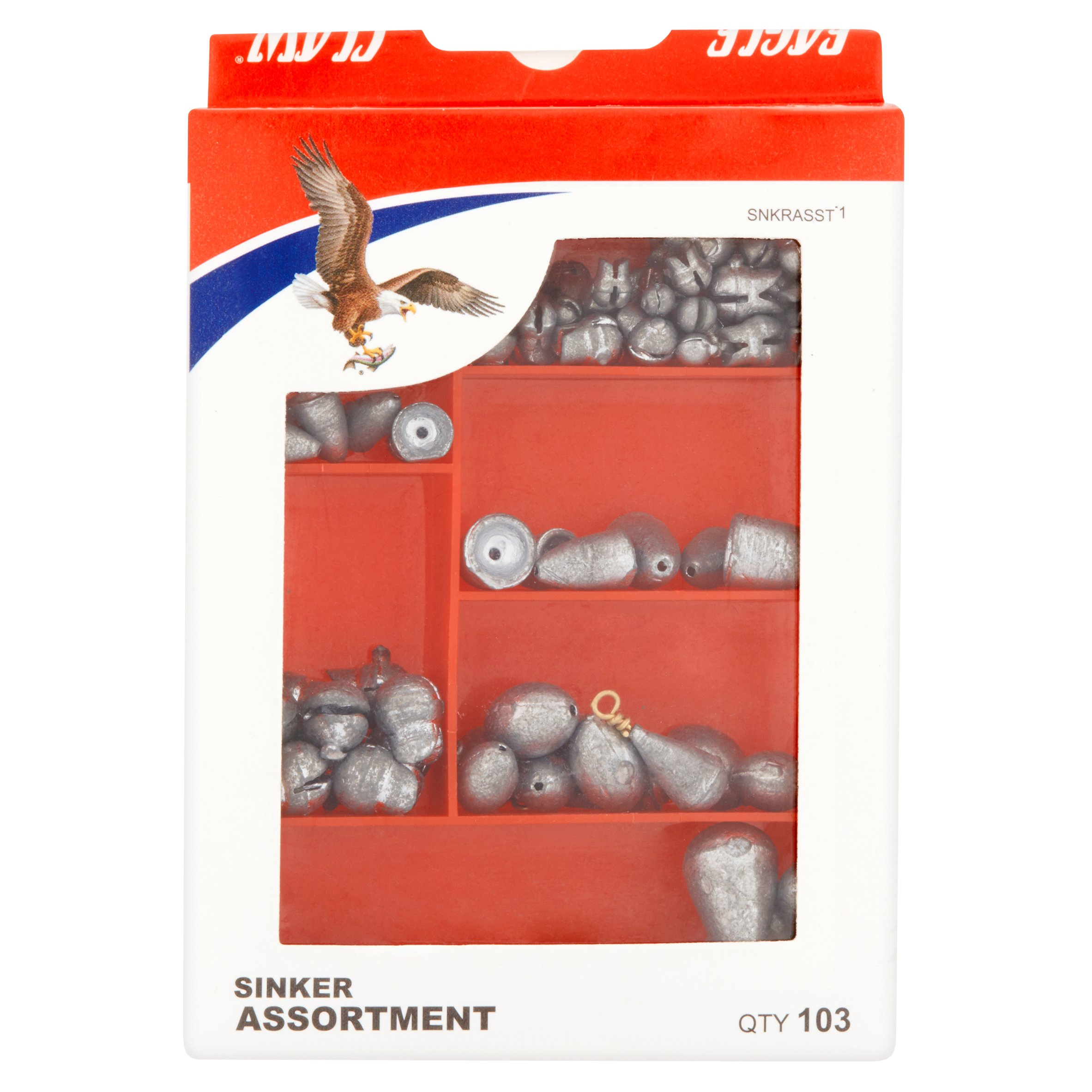 Eagle Claw Assortment Sinker, 103 count