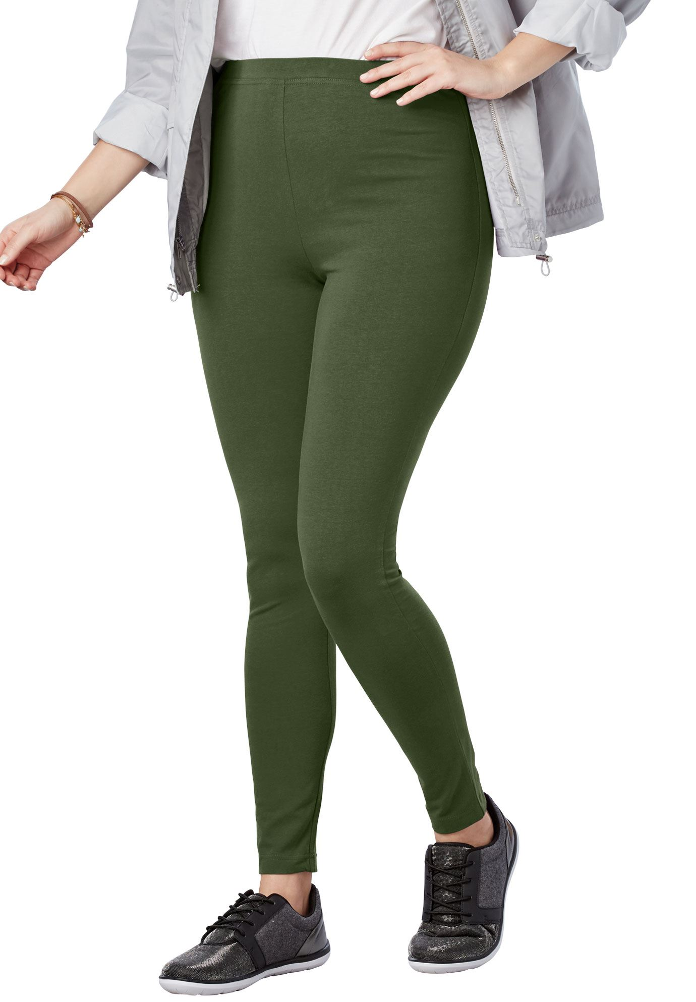 Woman Within Plus Size Petite Stretch Cotton Legging