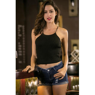 Women Slim Sleeveless Strap Casual Camisole Black