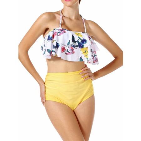 cf7c46122 SAYFUT - SAYFUT Women Two Piece Swimsuit Set Off Shoulder Ruffled Flounce  Crop Bikini Top with Floral Print Bottoms - Walmart.com