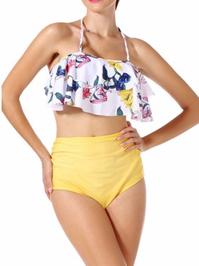 848451c372 Product Image SAYFUT Women Two Piece Swimsuit Set Off Shoulder Ruffled  Flounce Crop Bikini Top with Floral Print