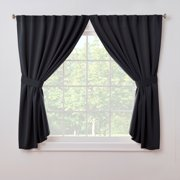 Back-Tab Thermal Insulated Blackout Window Dorm Curtain by ExceptionalSheets, 52 x 63, Black