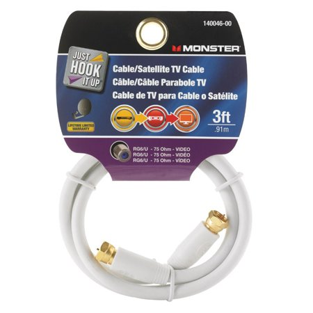 - Monster Cable Video Coaxial Cable Digital 75 Ohm 3 ' Carded