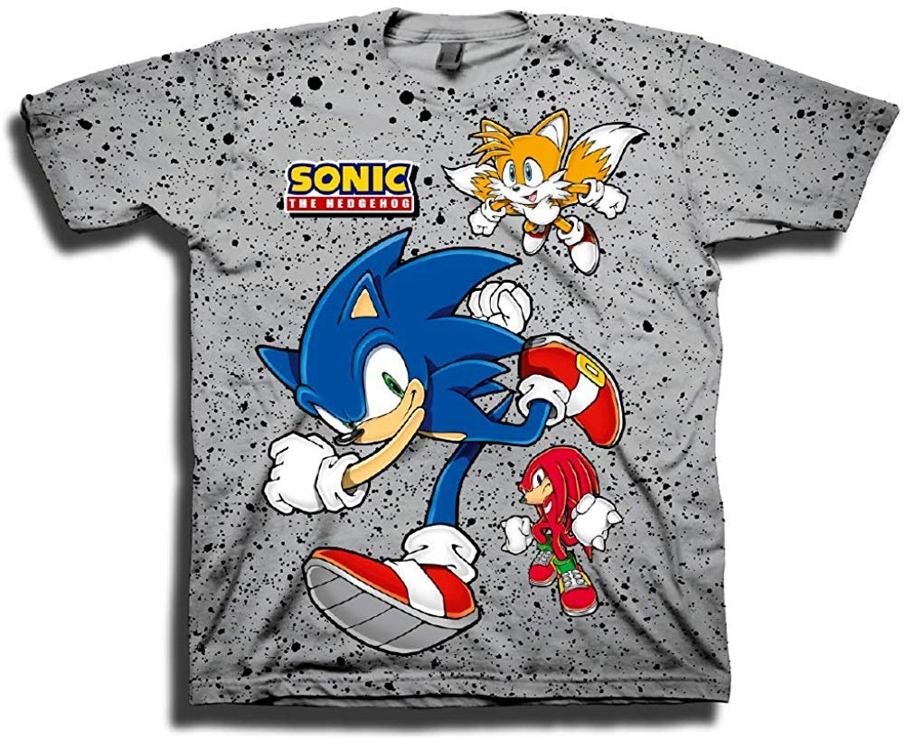 Sega Boys Sonic The Hedgehog Shirt Featuring Sonic Tails And Knuckles The Hedgehog Trio Official T Shirt Grey X Small Walmart Com Walmart Com