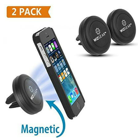 WizGear [NEW 2 PACK] Universal Air Vent Magnetic Car Mount Holder, for Cell Phones and Mini Tablets with Fast Swift-SnapTM Technology - with 4 Metal
