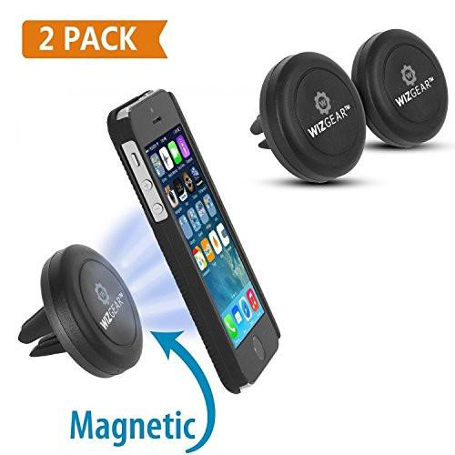 WizGear [NEW 2 PACK] Universal Air Vent Magnetic Car Mount Holder, for Cell Phones and Mini Tablets with Fast Swift-SnapTM Technology - with 4 Metal Plates