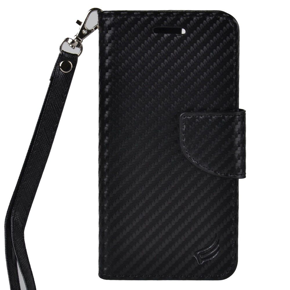 EagleCell Folio Hard Plastic Cover Card slot Holder Stand Case with Lanyard For Apple iPhone 8 / iPhone 7 - Black