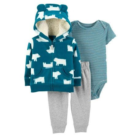 Polar Bear Outfit (Carters Infant Boys 3Pc Outfit Blue Polar Bear Hoodie Bodysuit & Pants)