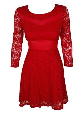 material girl juniors' mesh-trim lace dress (ablaze, l)
