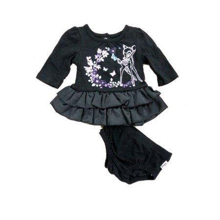 Disney Infant Girl Bambi Black Satin Long Sleeved Ruffled Deer Dress Outfit - Newborn Christmas Dress
