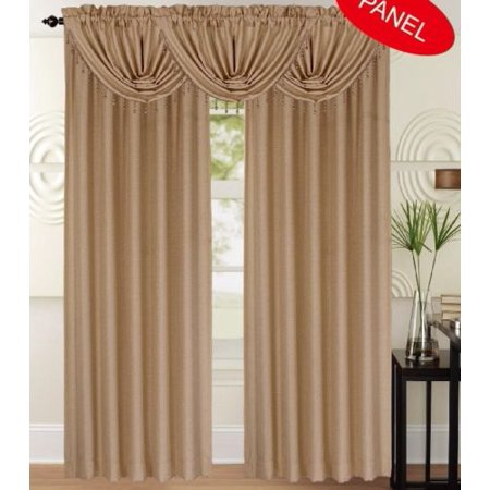 "Leah Textured Curtain Panel, 84"" Long Draperies, Gold, Each Panel Is Sold Separately"