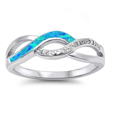 Opal Twist (Sterling Silver Blue Synthetic Opal Clear CZ Twisted Infinity Ring Size)