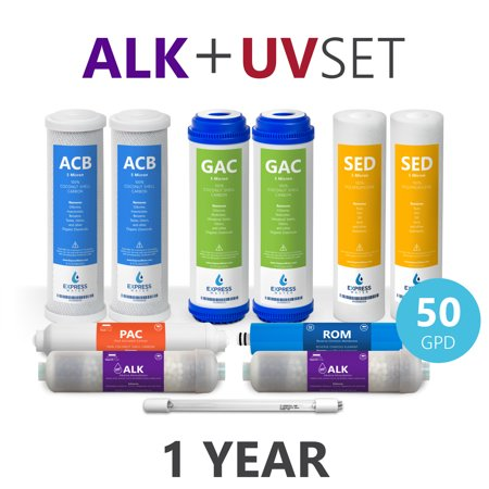 Ultraviolet Water Treatment System - Express Water – 1 Year Alkaline Ultraviolet Reverse Osmosis System Replacement Filter Set – 11 Filters with UV and 50 GPD RO Membrane – 10 inch Size Water Filters