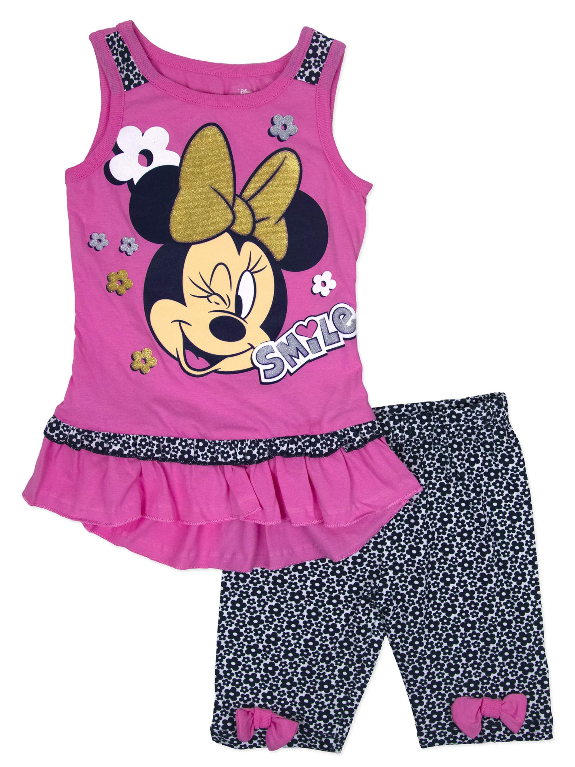 "Little Girls' 4-6X ""Smile"" Tank Top and Bike Short 2-Piece Outfit Set"