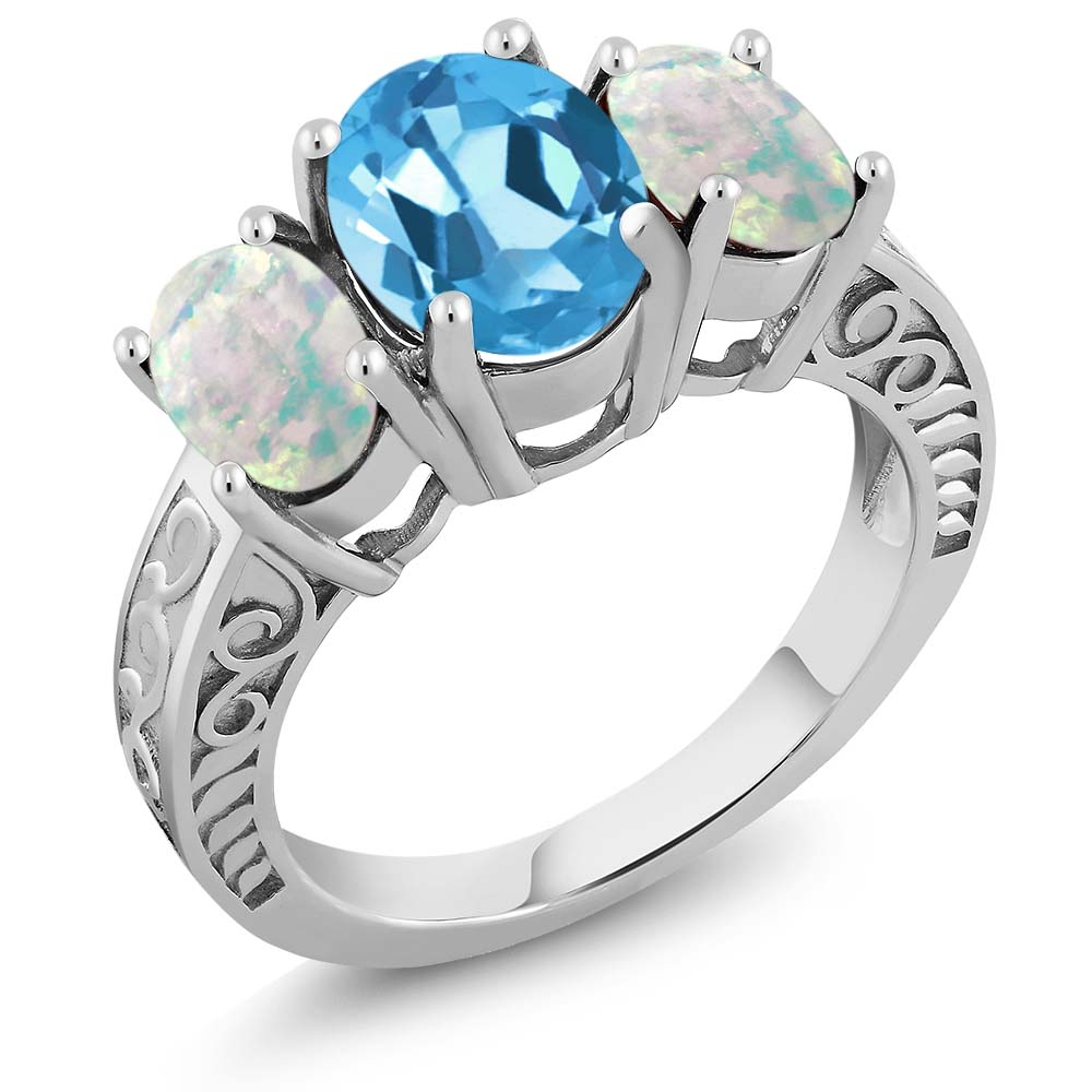 3.06 Ct Oval Swiss Blue Topaz and White Simulated Opal 925 Sterling Silver Ring