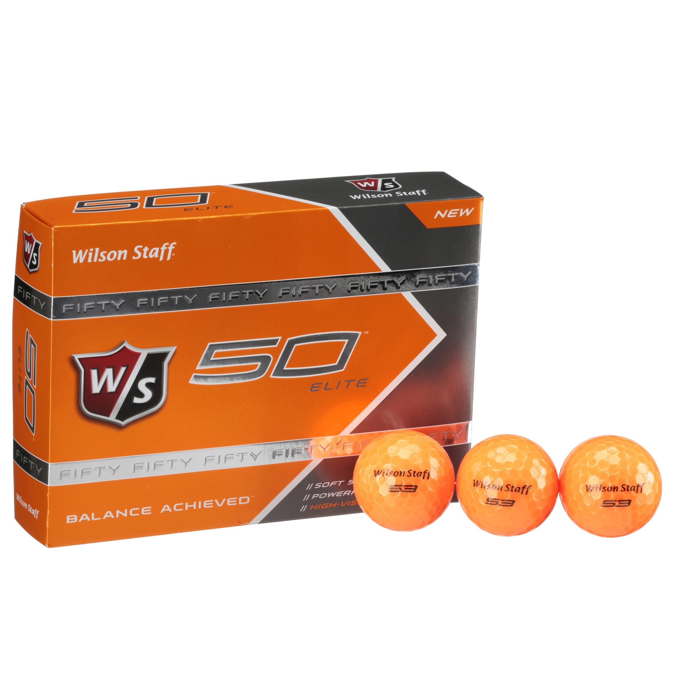 Wilson Staff 50 Elite High Visibility Golf Balls, Orange, 12 Pack