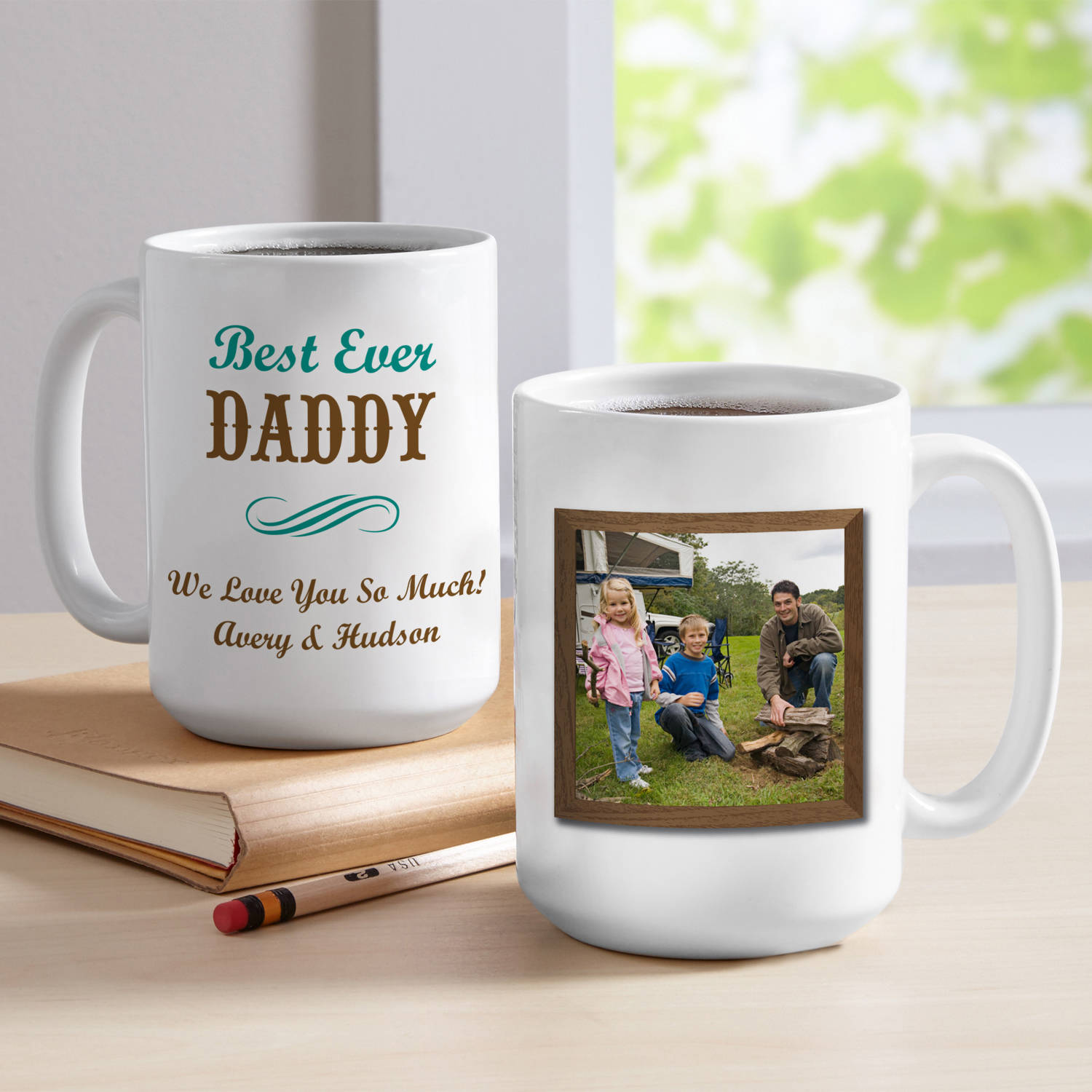 Personalized Best Ever Photo Coffee Mug, 15 oz- Brown, Available in 2 Colors