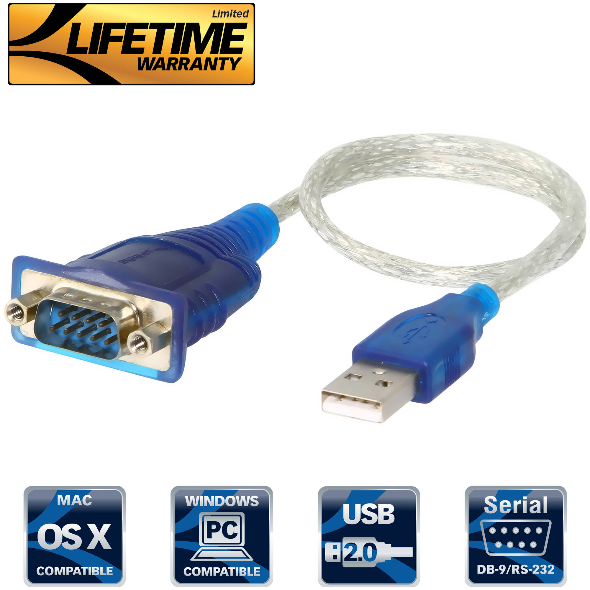 Sabrent USB to Serial (9-pin) DB-9 RS-232 Adapter Cable - Blue