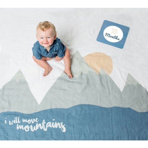 lulujo Baby's First Year Milestone Blanket & Cards Set - I Will Move Mountains