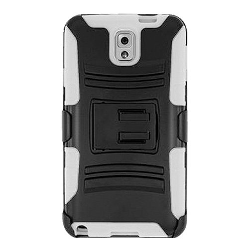 Premium Shockproof kickstand Slim Soft Silicone Hard Shell Case with Belt Clip Holster for Samsung GALAXY Note 3 SM-N900 - Black/ White