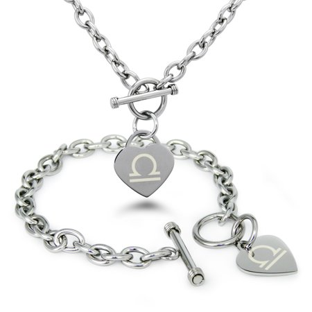 Stainless Steel Libra Astrology Symbol Heart Charm Toggle Bracelet & Necklace