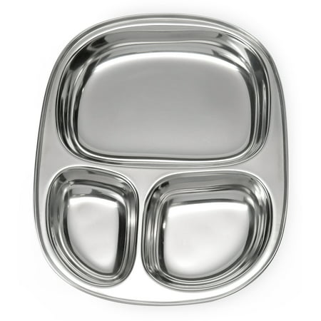 - Lifestyle Block Stainless Steel Plastic-Free 3 Compartment Kid's Plate – Small Reusable Divided Kid Plate with Separate Sections