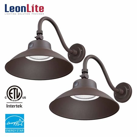 Leonlite 2 Pack Led Security Light 42w Gooseneck Barn 4000lm Outdoor Fixture Etl Energy Star Listed 5000k Daylight Brown