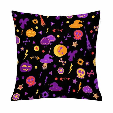 MKHERT Halloween Symbols Pillow Covers Pillowcase Throw Pillows 18x18 inch (Text Halloween Symbols)