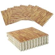 HOMCOM Soft Wood Grain EVA Foam Interlocking Floor Mats 72 Square Feet Exercise Workout Mat Kid Play Mat 18pcs (Dark Wood Grain)
