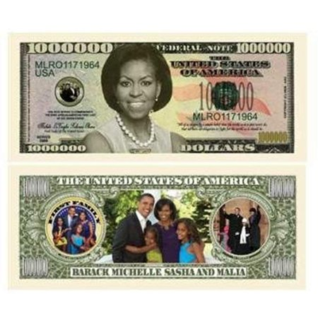 "- 5 Michelle Obama Million Dollar Bills with Bonus ""Thanks a Million"" Gift Card Set"