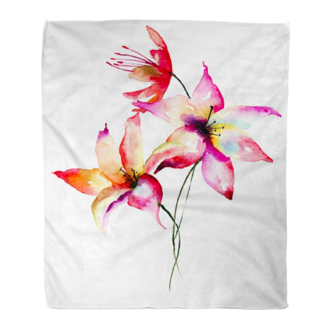 Hatiart Flannel Throw Blanket Bloom Painting Lily Flowers Watercolor Bell Blossom Branch Drawing Soft For Bed Sofa And Couch 50x60 Inches Walmart Canada