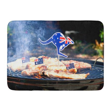 GODPOK Iconic Australian BBQ Close Up of Man Cooking Chops Sausages and Steak Outdoors in Garden Setting Rug Doormat Bath Mat 23.6x15.7 (Best Steak For Bbq Australia)