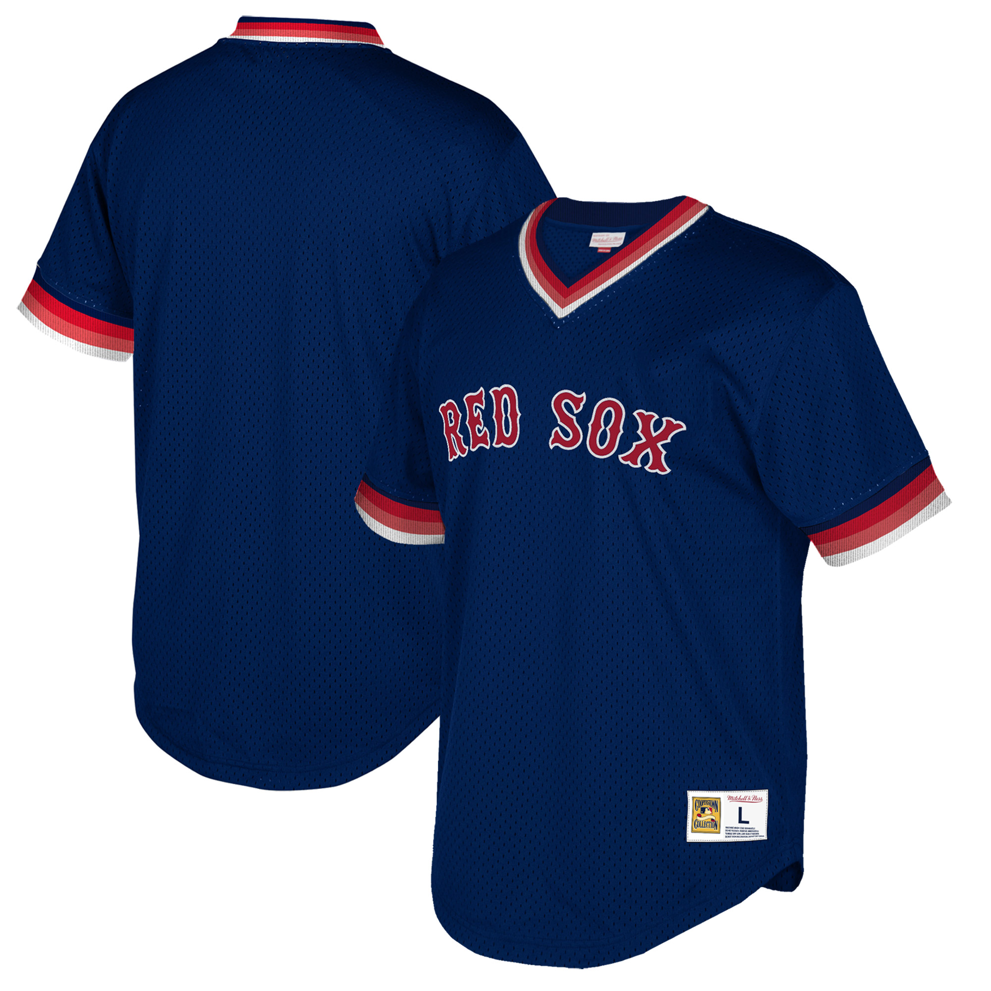 Boston Red Sox Mitchell & Ness Big & Tall Cooperstown Collection Mesh Wordmark V-Neck Jersey - Navy