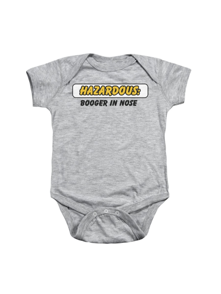 Hazardous: Booger In Nose Funny Saying Infant Snapsuit Baby Romper Snapsuit