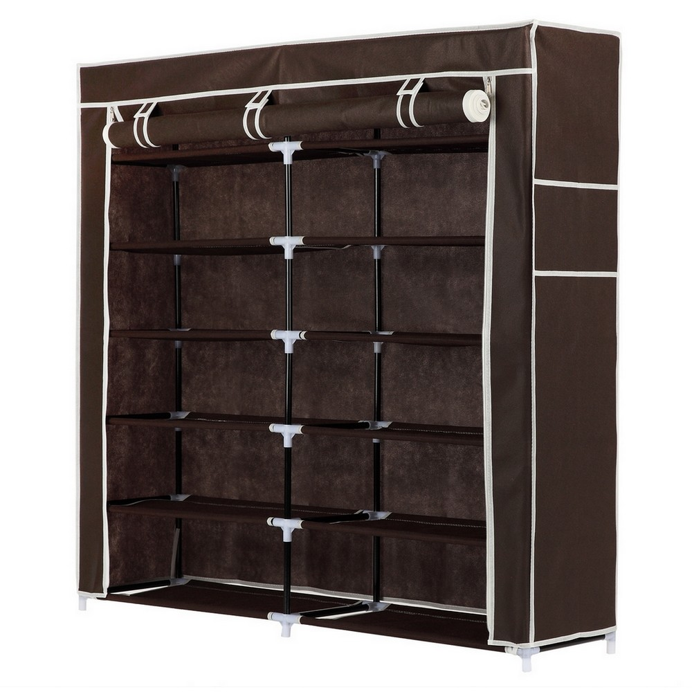 Homegear XL Free Standing Fabric Shoe Rack /Storage Cabinet /Closet Brown