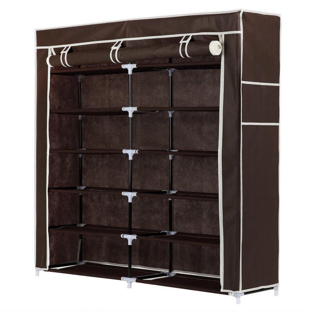 Homegear XL Free Standing Fabric Shoe Rack /Storage Cabinet /Closet Brown