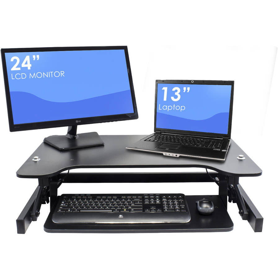 "Sorbus Sit-To-Stand Monitor Riser Desk, Height Adjustable Standing Desk with Keyboard Tray, Dual Monitor Capable, Laptops, Tablets and More, For Home or Office, 32"" Wide, Black"