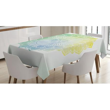 Lotus Tablecloth Boho Ethnic Mandala In Soft Tones Watercolor