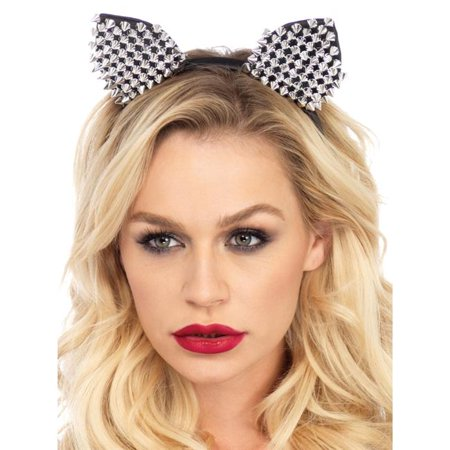 Cat Ears Studded Silver Adult Halloween Headband](Halloween Eats)