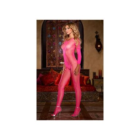 45794aca5a2 Dreamgirl - Dreamgirl Open Long Sleeve Net Bodystocking 15 Neon Pink -  Walmart.com