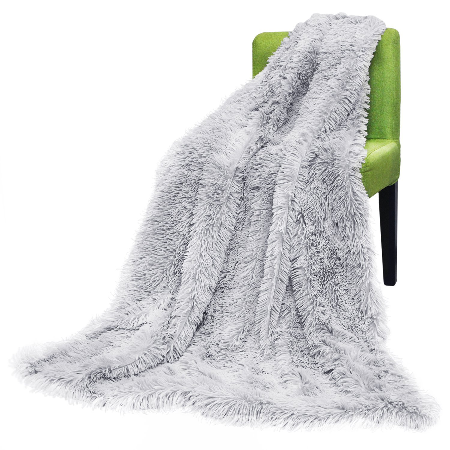 Tayyakoushi Faux Fur Throw Blanket for Couch Light Weight Bed Shaggy Blanket,Gray