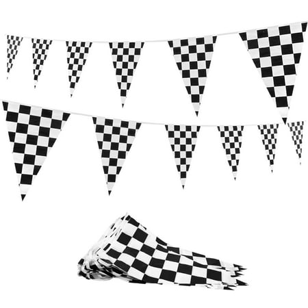 Nautical Themed Party Supplies (Novelty Place 100 Feet Checkered Pennant Banner - 48 Flags (12