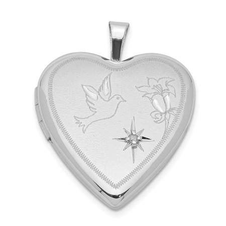 Picture Charm Pendant - 925 Sterling Silver Diamond Dove Flower Heart Photo Pendant Charm Locket Chain Necklace That Holds Pictures Gifts For Women For Her