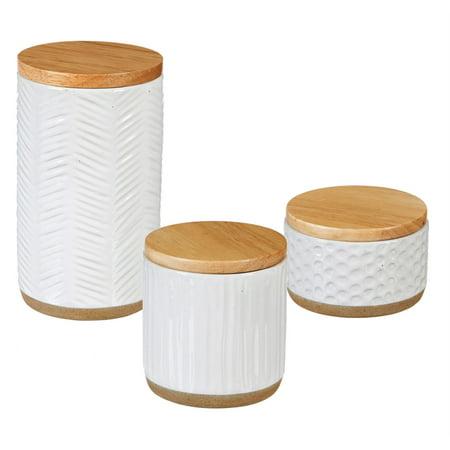 Debossed Ceramic Canister, Picket Porcelain, Set of 3