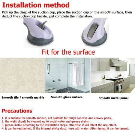 """1Pairs 12"""" Inch Bathroom Grip Handle Shower Tub Suction Cups Grab Bar Handle Support Safety  - image 2 de 8"""