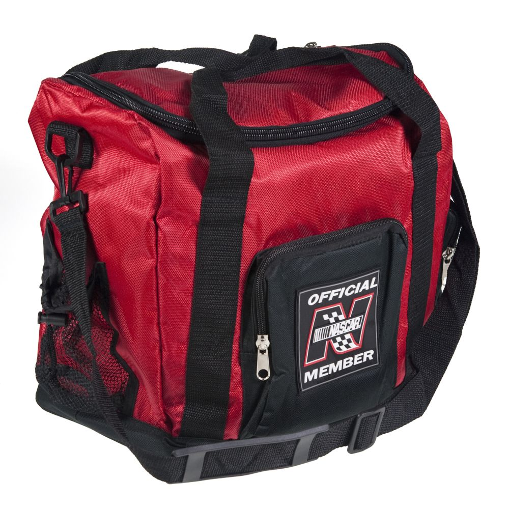 "Red Nascar Duffle Bag 15"" Large Pocket Adjustable Shoulder Strap Luggage CarryOn"